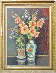 Sale 8134A - Lot 63 - Artist Unknown (XIX) - Still Life with Potted Flowers & Vase of Flowers 74 x 57cm