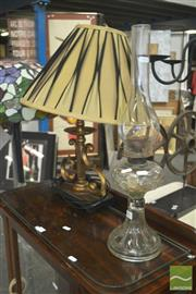 Sale 8331 - Lot 1091 - Kerosene Lamp w Table Lamp