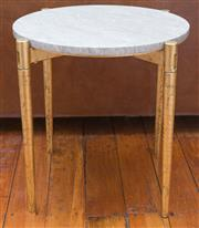 Sale 8530A - Lot 21 - A pair of circular marble top side table with tapered gilt legs, D 45 x H 46cm