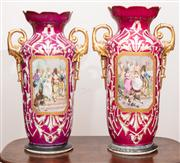 Sale 8804A - Lot 47 - A pair of impressive C19th porcelain mantle vases with scenes of dandies on a red and gilt ground Height 51cm