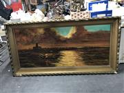 Sale 8833 - Lot 2086 - Angelo Perini - Coastal Scene, oil on board, frame 80 x 155cm, signed lower right -