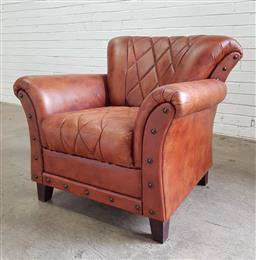 Sale 9097 - Lot 1082 - Art Deco Style Leather Club Chair, with hatched stitching and brass studs (h:80 x w:898 x d:48cm)