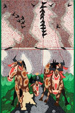 Sale 9141A - Lot 5039 - JUSTIN COOPER Untitled (Cows & Black Birds) mixed media on cedar panel 120 x 80 cm (frame: 124 x 84 x 56 cm) unsigned