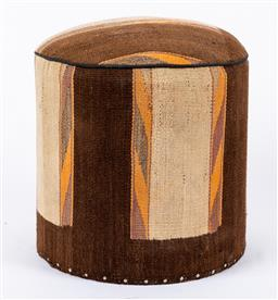 Sale 9245T - Lot 94 - A vintage Kilim footstool of cylinder form in chocolate and cream and orange, H 47cm