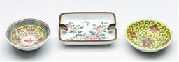 Sale 9164 - Lot 107 - A Chinese enamelled cigarette tray together with two pin dishes L9cm (largest)