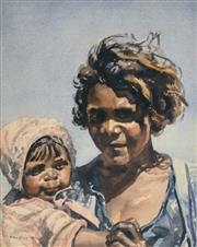 Sale 8000 - Lot 202 - Helen Baldwin (working 1940s - 1980s) - The Young Mother watercolour