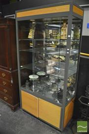 Sale 8380 - Lot 1007 - Glass Display Cabinet with Down Lights and Shelving