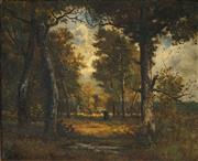 Sale 8484 - Lot 571 - Leon Richet (1843 - 1907) - Forest de Fontainbleu 38 x 46cm
