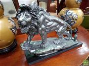 Sale 8480 - Lot 1084 - Silvered Lion Statue