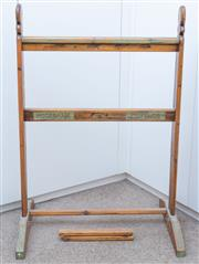 Sale 8800 - Lot 234 - An antique timber towel rail, one stretcher damaged
