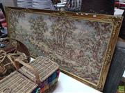 Sale 8637 - Lot 1061 - Large Gilt Framed Tapestry (187 x 81cm)