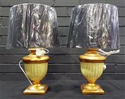 Sale 8979 - Lot 1095 - Pair of Italian Gold and Cream Grecian Urn Form Table Lamps - 3850 (H:57cm)
