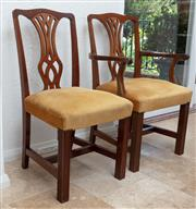 Sale 9066H - Lot 53 - A set of eight pierced back dining chairs with mustard upholstered overstuffed seats, includes two carvers. Height of backs 93cm.