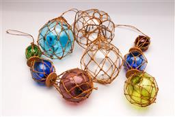 Sale 9104 - Lot 19 - A Collection of decorative coloured glass buoys