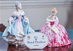 Sale 9103M - Lot 508 - A Royal Doulton figures of Southern Belle HN2425 and Victoria HN2471, cracked, together with a Royal Doulton desk plaque.