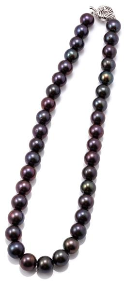 Sale 9149 - Lot 361 - A BLACK PEARL NECKLACE; 9.6-10.8mm near round cultured pearls with aubergine overtones to silver box clasp, length 41cm.