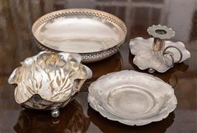 Sale 9195H - Lot 26 - A group of five EPNS table wares comprising trays and leaf form chamberstick