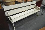 Sale 8175 - Lot 1027 - Outdoor Bench with Cast Iron Ends