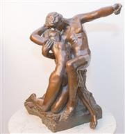Sale 8341A - Lot 8 - French bronze, The Kiss, after the original by Auguste Rodin, C20th, modelled after the original in a dark patina, H 64 x W 55cm