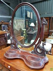 Sale 8576 - Lot 1089 - Victorian Carved Mahogany Toilet Mirror, with shaped supports & two hinged lid compartments