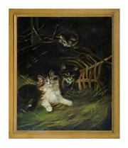 Sale 8586A - Lot 96 - European School - Cats at Play 36 x 31 cm