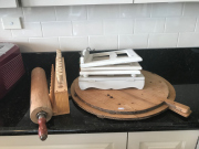 Sale 8677B - Lot 688 - A group of timber items, chopping boards, cook book STANDS, test tubes, rolling pins etc