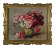 Sale 8828A - Lot 81 - Still life of carnations by Marcelle Bonnardel 1900- 1982 French. Oil on canvas signed in a French period gilt frame. 60 73 cm