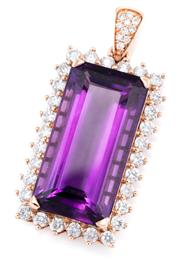 Sale 8915 - Lot 398 - A 14CT ROSE GOLD AMETHYST AND DIAMOND PENDANT; corner claw set with a long step cut amethyst of approx. 22.0ct to surround and bale...