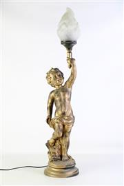 Sale 8905S - Lot 623 - A gilt and composite cherub table lamp. Height 89cm