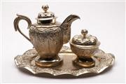 Sale 9049 - Lot 71 - Set of three piece silver plate part tea service comprising of teapot, lidded sugar bowl and a tea tray