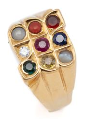 Sale 9054 - Lot 343 - A 22CT GOLD HANDMADE GEMSET RING; chequerboard top, 11 x 11mm set with a round brilliant cut diamond, blue sapphire, ruby, emerald,...