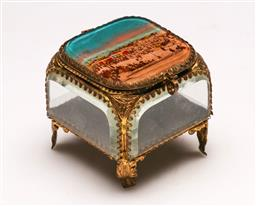 Sale 9128 - Lot 50 - A French bevelled glass jewellery box with gilt decoration and silk lined, (Souvenir of Ostend) (H: 7cm)