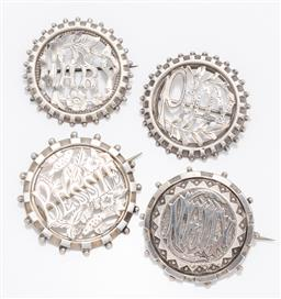 Sale 9180E - Lot 50 - A group of four sterling silver name pins of Mary, Bessie, Nelly and Polly, total combined weight 20.48g, largest Diameter 4.5cm