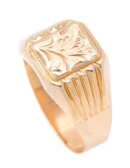 Sale 9177 - Lot 384 - A GENTS 14CT GOLD RING; 11.5mm square top with floral engraving to reeded shoulders, size V, wt. 2.45g.