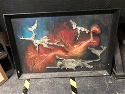 Sale 9163 - Lot 2030 - Ian H Wilson Flight From Oppression Mixed Media on Board, frame: 62 x 93 cm, signed lower right -