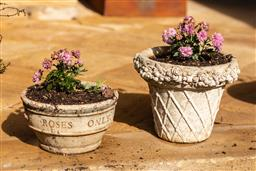 Sale 9191W - Lot 470 - Two composite stone planters  one entitled Roses Only. Planted with miniature chrysanthemums. H of largest 24cm