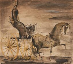 Sale 9184A - Lot 5021 - CEDRIC FLOWER (1920 - 2000) Women in a Horse Drawn Buggy watercolour, ink and gouache on paper 28 x 31.5 cm (frame: 41 x 44 x 3 cm) ...