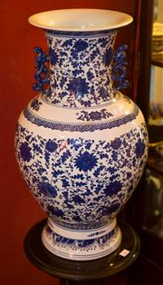 Sale 7962B - Lot 27 - Oriental double handled blue and white vase