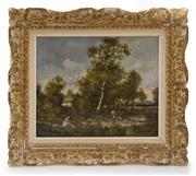 Sale 8202A - Lot 82 - Artist Unknown, Late C19th French Impressionist, after Corot - Landscape 32 x 40cm