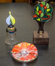 Sale 8310A - Lot 166 - Three pieces of fancy glass, including a Murano bell, Andy Warhol paper weight