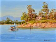 Sale 8323A - Lot 6 - John Hingerty (1930 - ) - Mooring by the Shack 38 x 50.5cm
