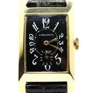 Sale 8402W - Lot 48 - LONGINES 14CT GOLD VINTAGE WRISTWATCH; black dial with painted Arabic numerals, subsidiary seconds on a 17 jewell cal. 25M manual mo...