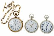 Sale 8426 - Lot 486 - THREE OPEN FACE POCKET WATCHES; a Centre Seconds Chronograph with white dial signed Dorey Lester & Co Kilburn London England, non fl...
