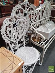 Sale 8455 - Lot 1076 - Pair of Wicker Single Bed Heads & Matching Chair (3)