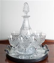Sale 8515A - Lot 36 - A decanter set with six cut crystal glasses on an EP footed tray, H of decanter 33cm