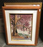 Sale 8824 - Lot 2090 - 2 Works: Botanical Print and a mineral encrusted work of a Cherry Blossom Tree
