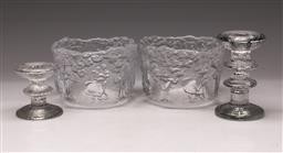 Sale 9119 - Lot 160 - A pair of Kosta Boda bowls (Dia 14cm) together with A pair of graduating candle holders (H 13cm and 8cm)