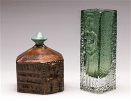 Sale 9131 - Lot 36 - Studio pottery hut form paperweight (H:13cm) together with a Swedish art glass vase - signed to base (H:16.5cm)