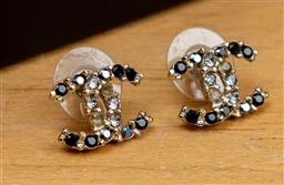 Sale 9165H - Lot 100 - Chanel Earrings in onyx and crystal with original pad and box, L 17mm x W 12mm