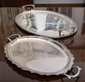 Sale 9195H - Lot 52 - Two EPNS oval twin handled trays with fancy borders
